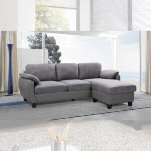 sofa L Bisotec gris Electroménager